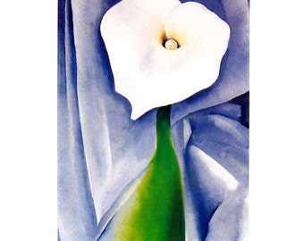 Georgia O'Keeffe Print - Calla Lily on Gray - 1993 Vintage Book Page - 10 x 12