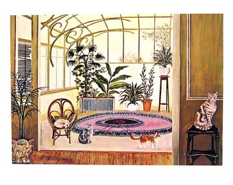 Cat Print - The Sunroom - 1985 Vintage Book Page - 9 x 12