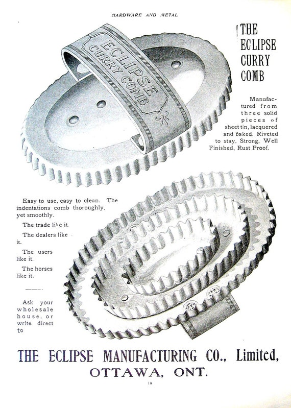 1904 Antique Hardware Advertisement Horse Curry Comb from Canada Hardware and Metal Catalog