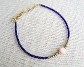 Beaded Dainty Coral and Pyrite Bracelet- Peony