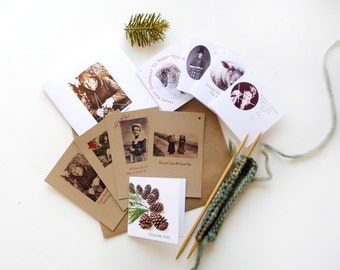 Gifts for Knitters Greeting Card Gift and Gauge Cards Collection Retro Original Design Handmade
