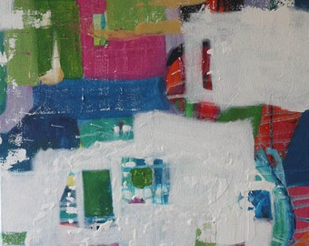 Abstract Painting Original Abstract Art Modern Contemporary Blue Red Acrylic Painting on Canvas
