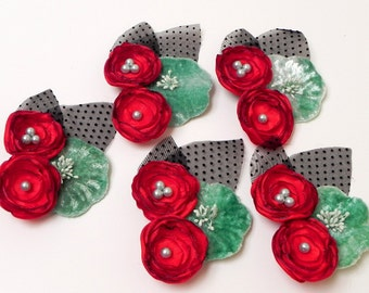 Bridesmaid Flower Hair Clip - Retro Rockabilly - Vintage Aqua Blue Red and Black Flowers-  Flower Girl or Bridesmaids