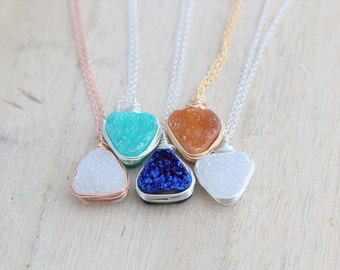 Druzy Triangle Pendant Necklace, Bezel Wrapped Geometric Quartz, Silver Gold Rose Gold, Tribal Gifts