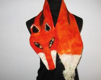 FOX FELTED Scarf Animal Neck warmer Orange Red Felt Wrap