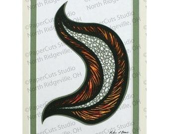 Mosaic Leaf Papercutting, Handcut Original, Triple-layered, Watercolor