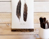 Feather Patterns Vol.4 - Mini wall hanging, wood trim and printed on textured cotton canvas. Vintage Science Posters