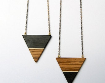 Ebony and Zebrawood Triangle - ebony, maple and zebrawood necklace with antique brass chain