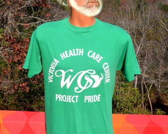 vintage 80s t-shirt VICTORIA health care pride dove green tee shirt Medium soft