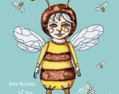LOVE the BEES SAVE the Bees Girl Blue Background Digital Print from Original Illustration