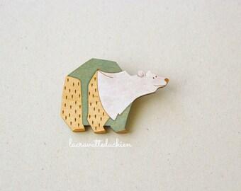 Wooden polar bear brooch, Animal brooch, winter jewelry