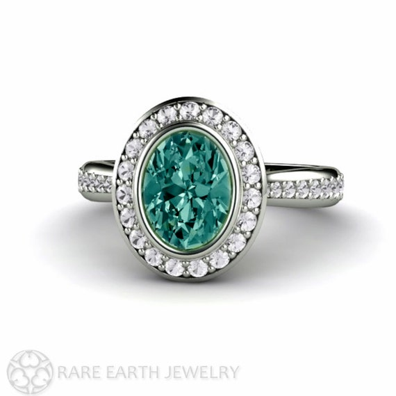 Blue Green Sapphire Engagement Ring Bezel Halo Montana Sapphire Ring 14K White Yellow Rose Gold Palladium Custom Engagement Ring