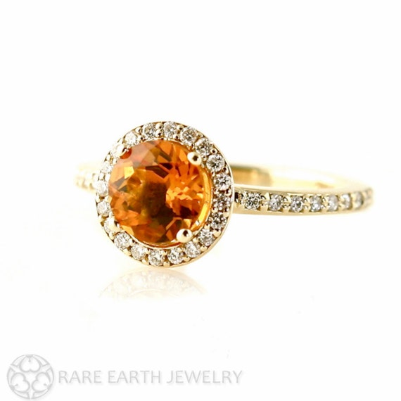 14K Citrine Ring Diamond Halo Setting Citrine Engagement Ring November Birthstone Custom Bridal Jewelry