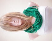 SALE-Jersey scarf, Jersey necklace, infinity eternity loop, multistrand necklace, Emerald green scarf