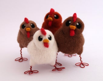 Needle Felted Chicken Choose Your Chicken Farmyard Bird, Felt Bird, Chicken Decoration