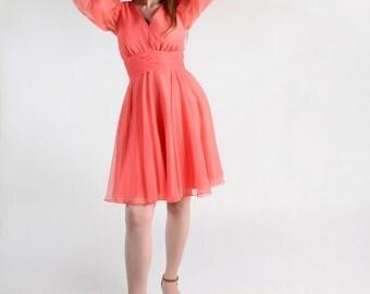 Vintage 1960s Party Dress - Miss Elliette Coral Chiffon Cocktail Dress - Medium