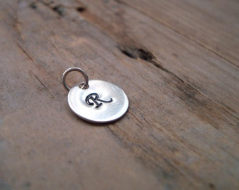 Add On Personalized Initial Silver Charm - Sterling Silver, Monogram Pendant, Custom Initial Disc, Initial Pendant