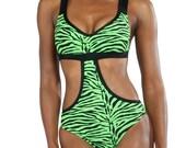 Sandra Monokini One Piece in Green Zebra Print