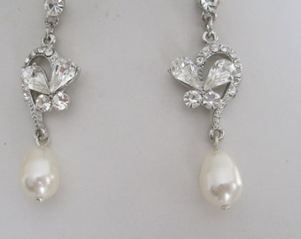 Brides Bridesmaids Rhinestones and Pearls Earrings Bride Earrings Bridesmaids Earrings Bridal Accessories