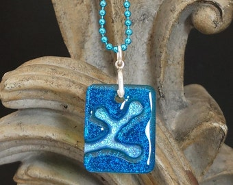 Berries Sky Blue Carved Dichroic Glass Pendant - FREE SHIPPING!