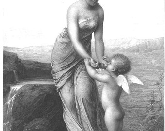 Beautiful Woman and Cupid 1800s Antique Art Vintage Print