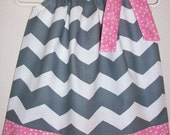 Pillowcase Dress CHEVRON Grey with Pink Dots baby toddler girl