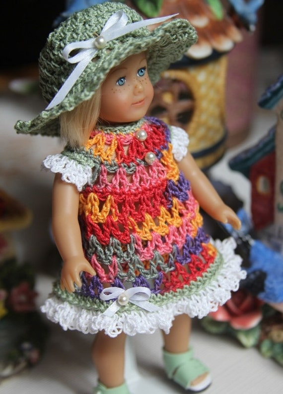 Crochet Mini Doll Clothes : Crochet outfit for AG Mini 6 inch cloth body doll Dress Set