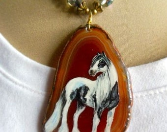 Handpainted Gypsy Horse On Agate Necklace Pendant