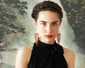 copper lace statement earrings // HIPPOLYTA // long earrings / boho chic earrings / bridal earrings / unique jewelry art deco