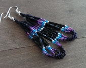 Native American beaded earrings - black and purple - beadwork earrings - seed beaded earrings