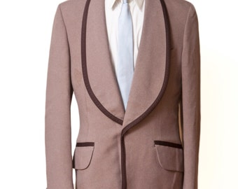 Men's Blazer / Vintage Brown Tuxedo Jacket with Satin Piping / Size 39 X-Long