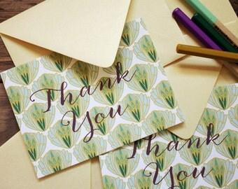 Notecards / Set (10) Artichoke Pattern Folded / THANK YOU / Green / Shimmery Gold Envelopes