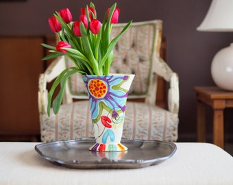 Tulip Vase Jubilation Retro Vase Colorful Vase Floral Boho Decor Pottery Happy Home Decor Easter Decor Birthday Gift for Her Romy and Clare
