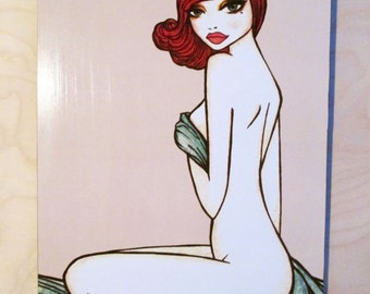 Pinup girl - Art print by Brenda Dunn - Wall art, home decor, bedroom art, nude, red head, pin up art, pale skin, bathroom decor - 'Joanie'