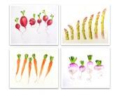 Fruit Kitchen Art PRINT SALE 20% set of 4 / Watercolor painting / Kitchen Artwork / Botanical fruit still life for gardener K