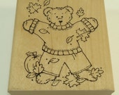 Beary Fall Fun Wood Mounted Rubber Stamp By JRL Designs Q285