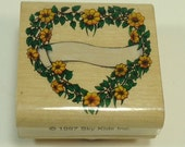 Floral Heart Shaped Wreath With White Banner Wood Mounted Rubber Stamp By Spy Kids