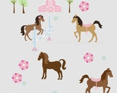 Pretty Horses - Reusable Wall Decals for Girl Horse Room Nursery - Fabric Wall Stickers Brown Grey Gray Pink Purple Accents with Barn Farm