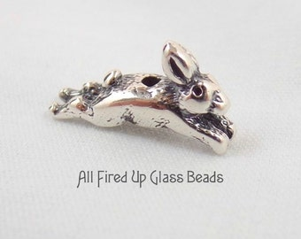 Bunny Rabbit Sterling Silver Bead Cap Charm Made in the USA
