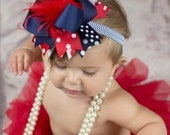 Patriotic Red White And Blue Over The Top Hairbow 4th of July Headband Ready to Ship