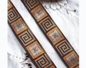 Ancient Look GREEK KEY and SYMBOLS Vintage French Jacquard Ribbon - Metallic Gold Accents