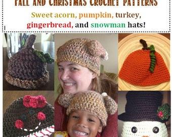 5 fall & Christmas crochet pattern deal! Acorn, pumpkin, turkey, gingerbread, snowman (All sizes: preemie through adult extra large)