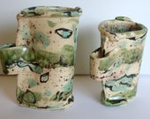 ocean waves 2 ceramic mugs handmade glazed blue green oatmeal coffee mug hot chocolate cups the sea art