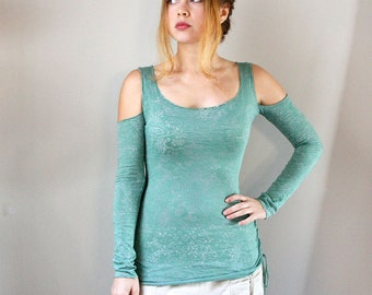 Long Sleeve Women shirt Hand Dyed Green, lacy floral  soft burn out fabric, perfect Valentine gifts.
