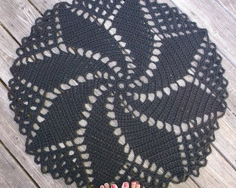 "Crochet Rug in Black Cotton 33"" Spiral Pattern Non Skid"