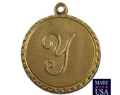 Raw Brass Letter Y Initial Charm Drop with Loop (1) chr190Y