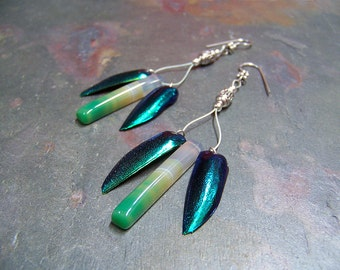 Firefly Earrings with Elytra Beetle Wings | Green Agate Glow Worm Earrings | Iridescent Lightning Bug Jewelry | Unique Fairy Firefly Jewelry