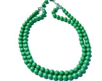 Vintage Green Beaded Double Strand Choker with Rhinestone Accented Closure - Circa 1950s