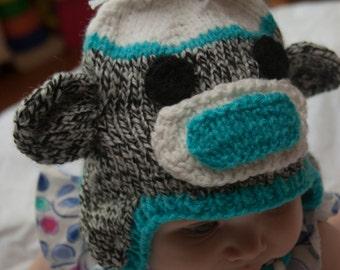 Aqua Sock Monkey Hat for 0-6 Month Olds