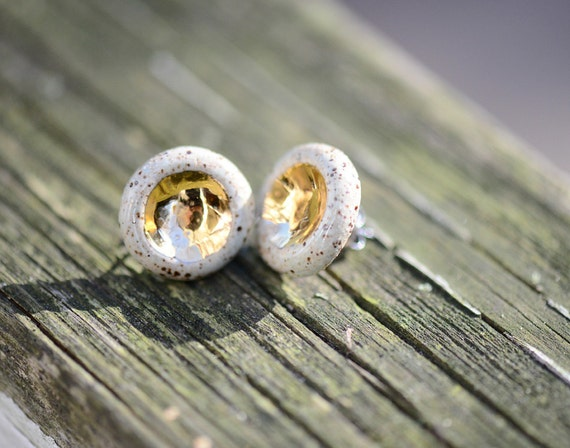 Speckled Stoneware 22k Gold Barnacle - Ceramic Earrings - Ceramic Jewelry - Stud Earrings, Nickel Free